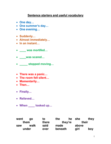 Sentence Starters for Creative Writing