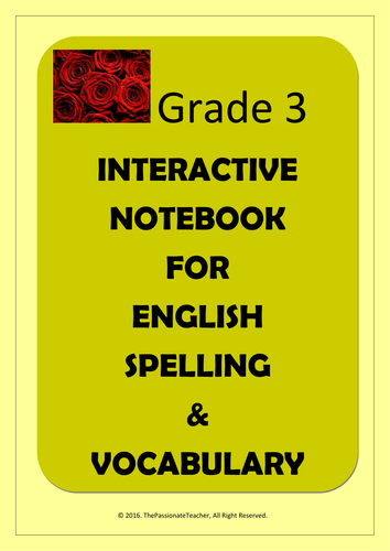 Grade 3 English Spelling & Vocabulary Interactive Notebook