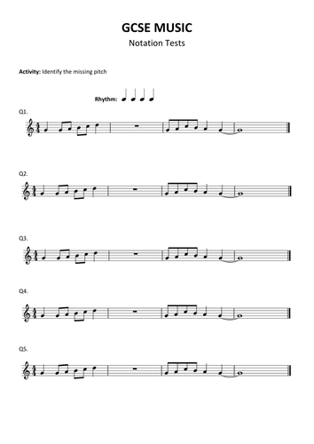 GCSE Music Notation Audio Test / Revision / Activity