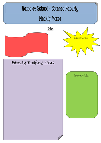 weekly departmentfaculty memo template by katier83 teaching resources tes