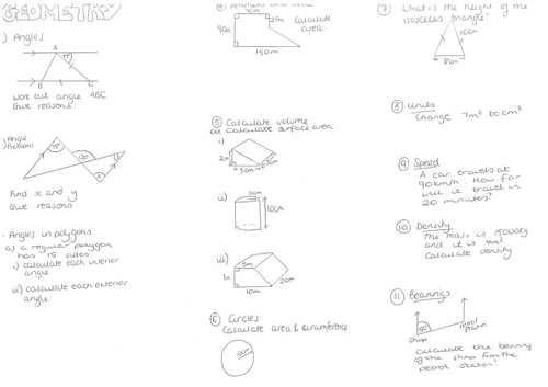 Maths Three assorted worksheets on GCSE geometry by