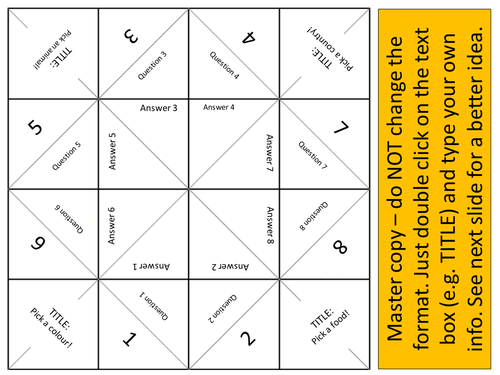 Cootie Catcher 8 question revision task (ICT Template in Word)