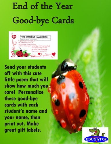 End of the Year - Good-bye Cards