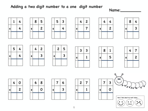 Addition Addition Of 2 Digit Numbers Free Math Worksheets for – Adding Two Digit Numbers with Regrouping Worksheets