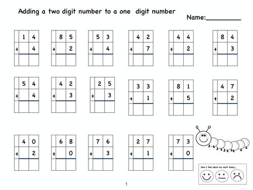 Free Worksheets Subtracting Two Digit Numbers Without Regrouping – Adding Two Digit Numbers Worksheets