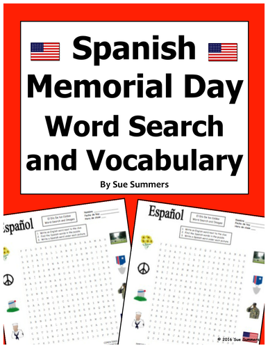 Spanish Memorial Day Word Search Puzzle Worksheet & Vocabulary USA
