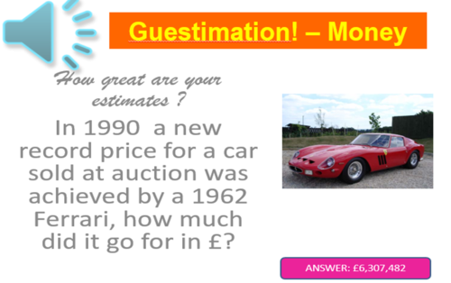 Guesstimation - How Good Are Your Estimates Team Game - End of Term Fun! KS2 - KS4