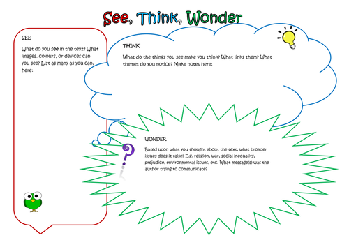 See, Think, Wonder: A Worksheet to Stimulate Deep Thinking, Opinion and Justification