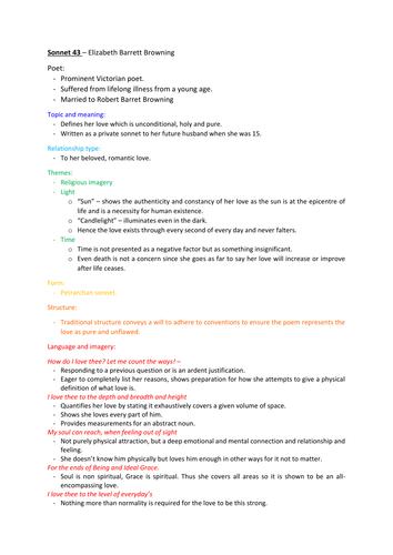 Essay sonnet analysis