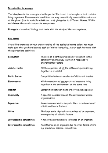 Ecology Key Terms Summary By Cmrcarr Teaching Resources