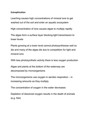 Eutrophication - DRAW IT activity by cmrcarr - Teaching Resources ...