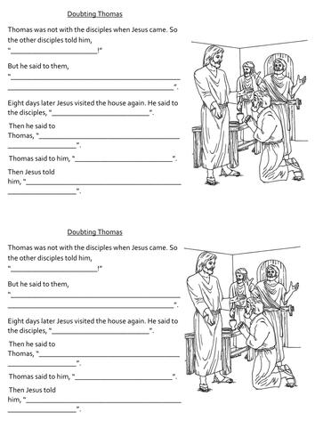 'Doubting Thomas' worksheets