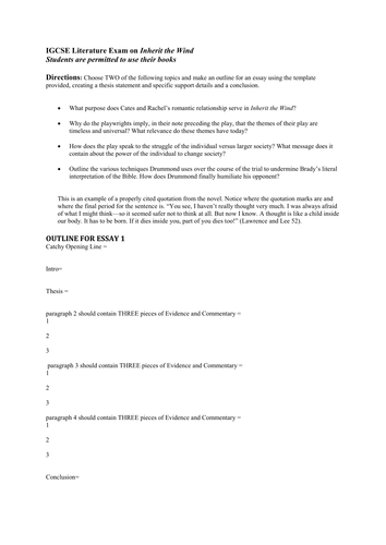 inherit the wind by lawrence and lee essay questions  inherit the wind by lawrence and lee essay questions template for creating an outline by snuffleupagus13 teaching resources tes