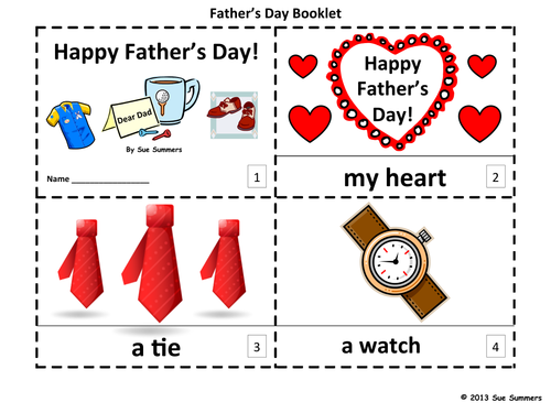 Father's Day 2 Emergent Reader Booklets and Presentation