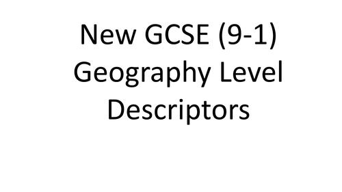 New Geography GCSE (9-1) Descriptors KS3-KS4