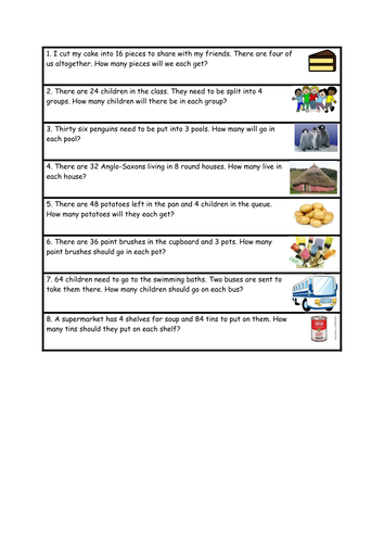 Division word problems- differentiated