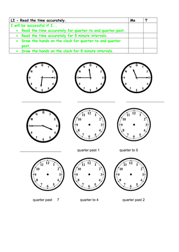 15 minute and 5 minute intervals clock times by caroline810 teaching resources tes. Black Bedroom Furniture Sets. Home Design Ideas