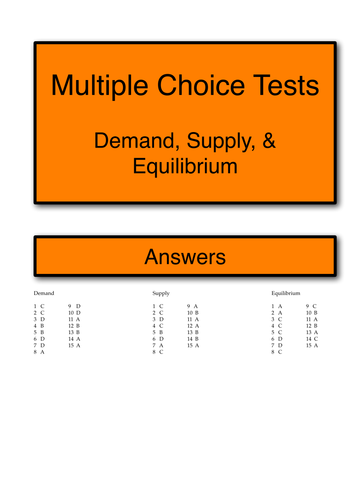Multiple choice tests (Demand, Supply, & Equilibrium)