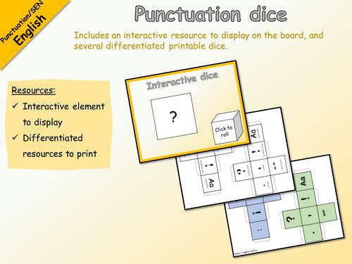 English - Punctuation dice