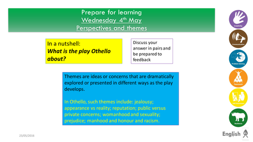 AS Literature-Othello revision lessons