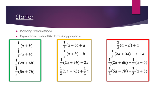 Starter - Expanding brackets with fractions