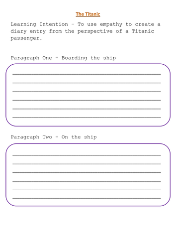 diary writing template ks1 - titanic diary lesson by uk teaching resources tes