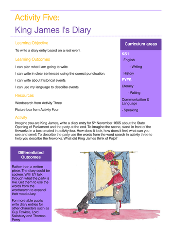Gunpowder Plot Sample lesson plan linked to story for EYFS/KS1