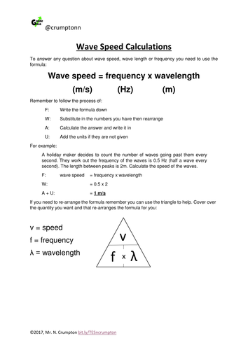 Wave Speed Calculations By Ncrumpton Teaching Resources