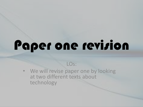 AS English Language: Paper One Revision whole lesson