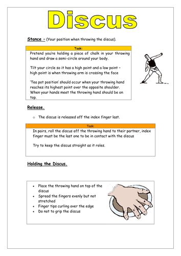 Discus Key Points Teaching Cards