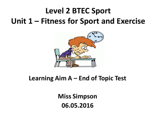Level 2 BTEC Sport - Unit 1 - Fitness for Sport and Exercise - Mock Exam Paper - Learning Aim A