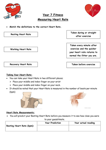 KS3 Fitness - Heart Rate Circuit Lesson Worksheet