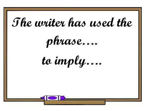 Sentence starter examples display - Analytical writing