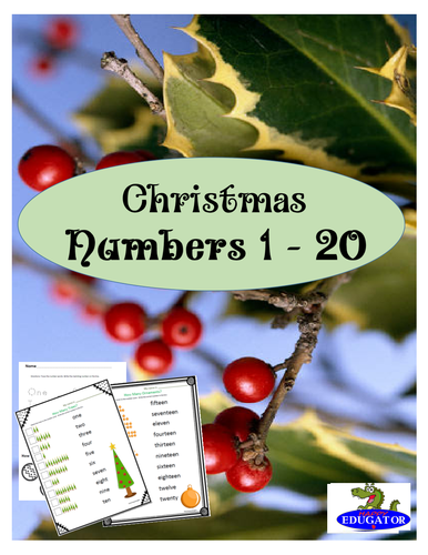 Christmas Counting Numbers 1 - 20
