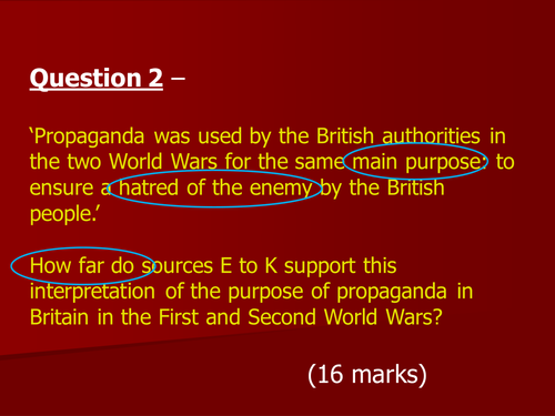AQA GCSE History  controlled assessment 2015/17 Question 2 source analysis