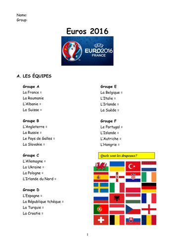 Euros 2016 French booklet