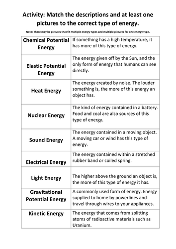 types of energy match up activity by maryalex teaching resources tes. Black Bedroom Furniture Sets. Home Design Ideas