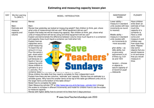 measuring capacity ks2 worksheets and lesson plans by saveteacherssundays teaching resources. Black Bedroom Furniture Sets. Home Design Ideas