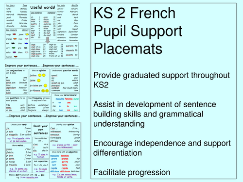 ks2 french generic pupil support placemats revised by tdav teaching resources tes. Black Bedroom Furniture Sets. Home Design Ideas