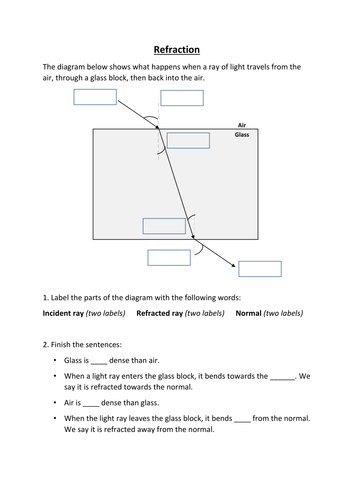Worksheets Refraction Worksheet refraction worksheet by benmarshall939 teaching resources tes