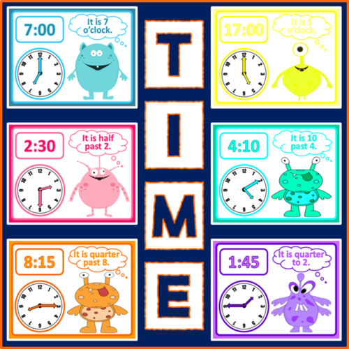 TELLING THE TIME DISPLAY POSTERS -  MATHS KS1-2 CLOCKS HOURS MINUTES HALF PAST QUARTER TO AND PAST