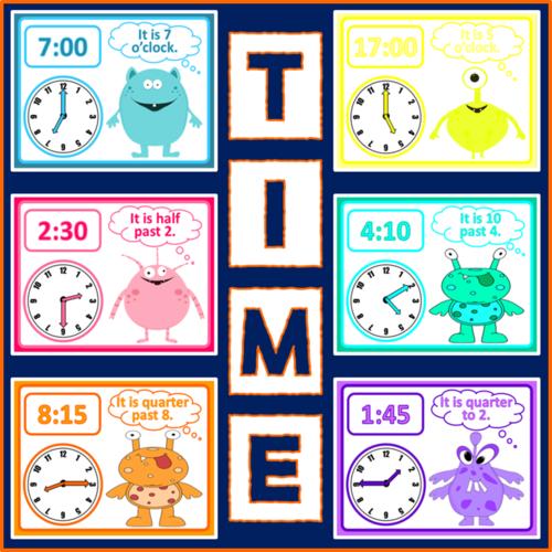 Telling The Time Display Posters Maths Ks1 2 Clocks