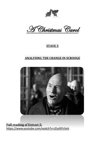 A Christmas Carol ANALYSING THE CHANGE IN SCROOGE Stave 5 WORKSHEETS   Teaching Resources