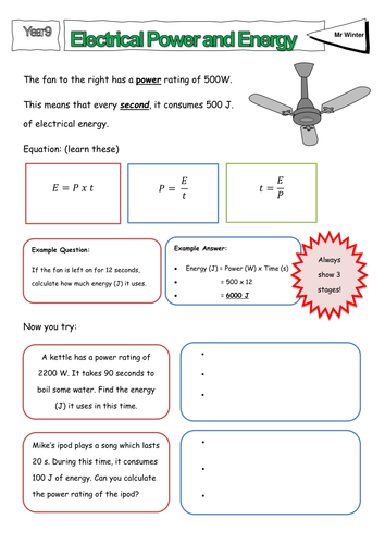 Electricity Power And Time Worksheet By Lmow20 Teaching Resources