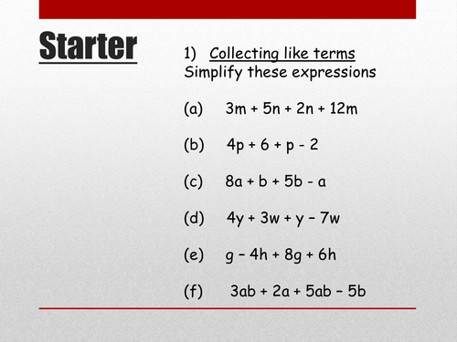 Review of algebraic operations