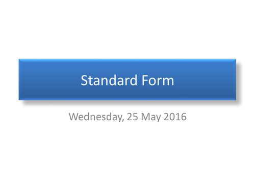 Standard Form calculations without calculators
