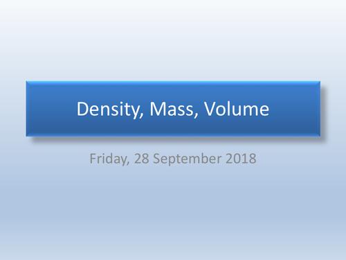 Density, Mass, Volume