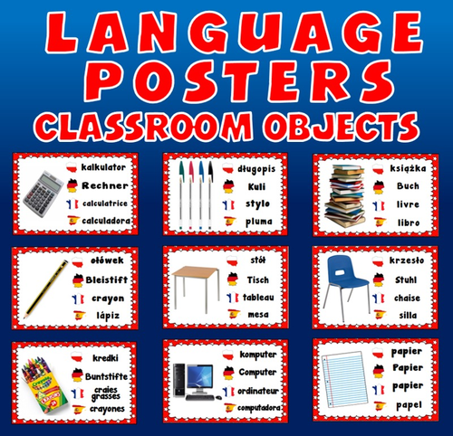 CLASSROOM OBJECTS / STATIONARY LANGUAGE POSTERS- SPANISH FRENCH POLISH GERMAN