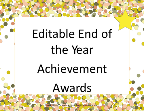 Editable End of the Year Awards-Celebrate With A Confetti ...