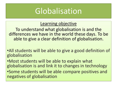 Globalisation  (Business studies; Geography or PSHE)    Year 7-9